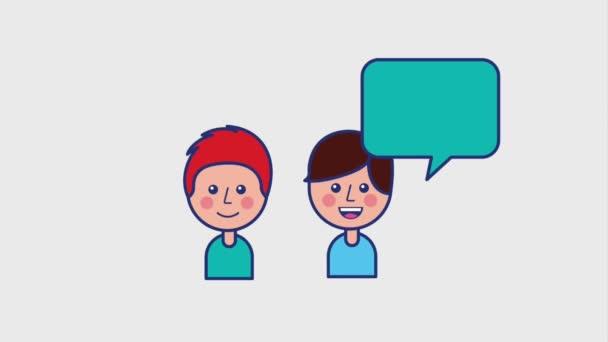 Genç çocuklar konuşma balonu konuşuyor