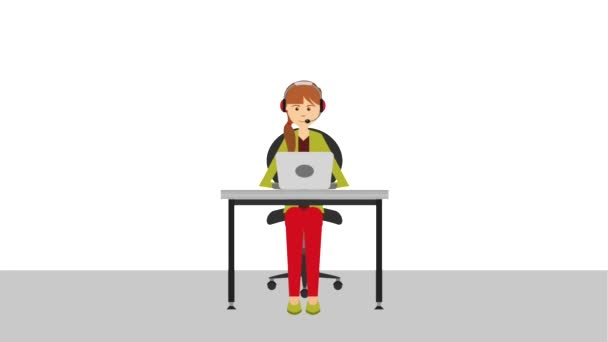operator woman working in laptop call center animation hd