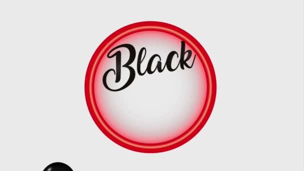 neon badge and decorative balloons black friday black friday animation hd