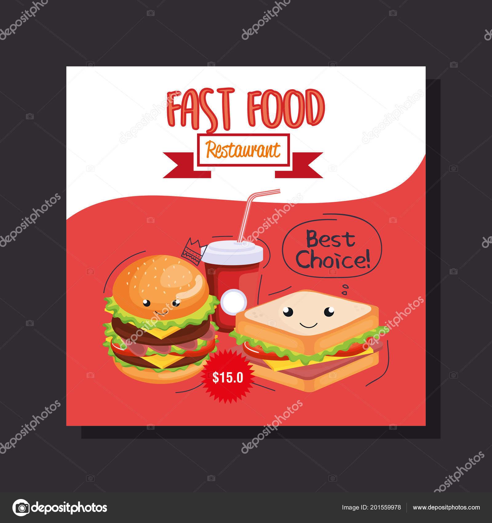 Delicious fast food restaurant menu card — Stock Vector