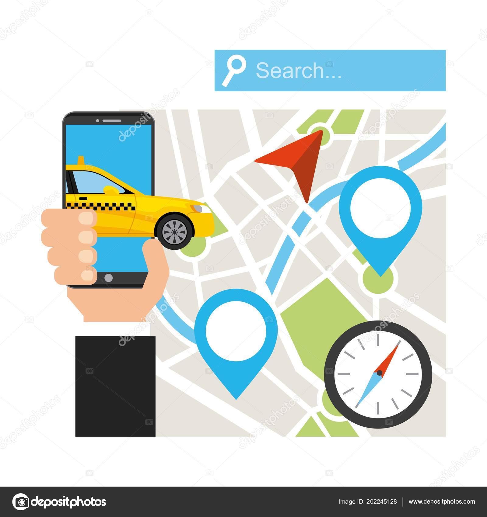 Taxi service public transport app technology — Stock Vector