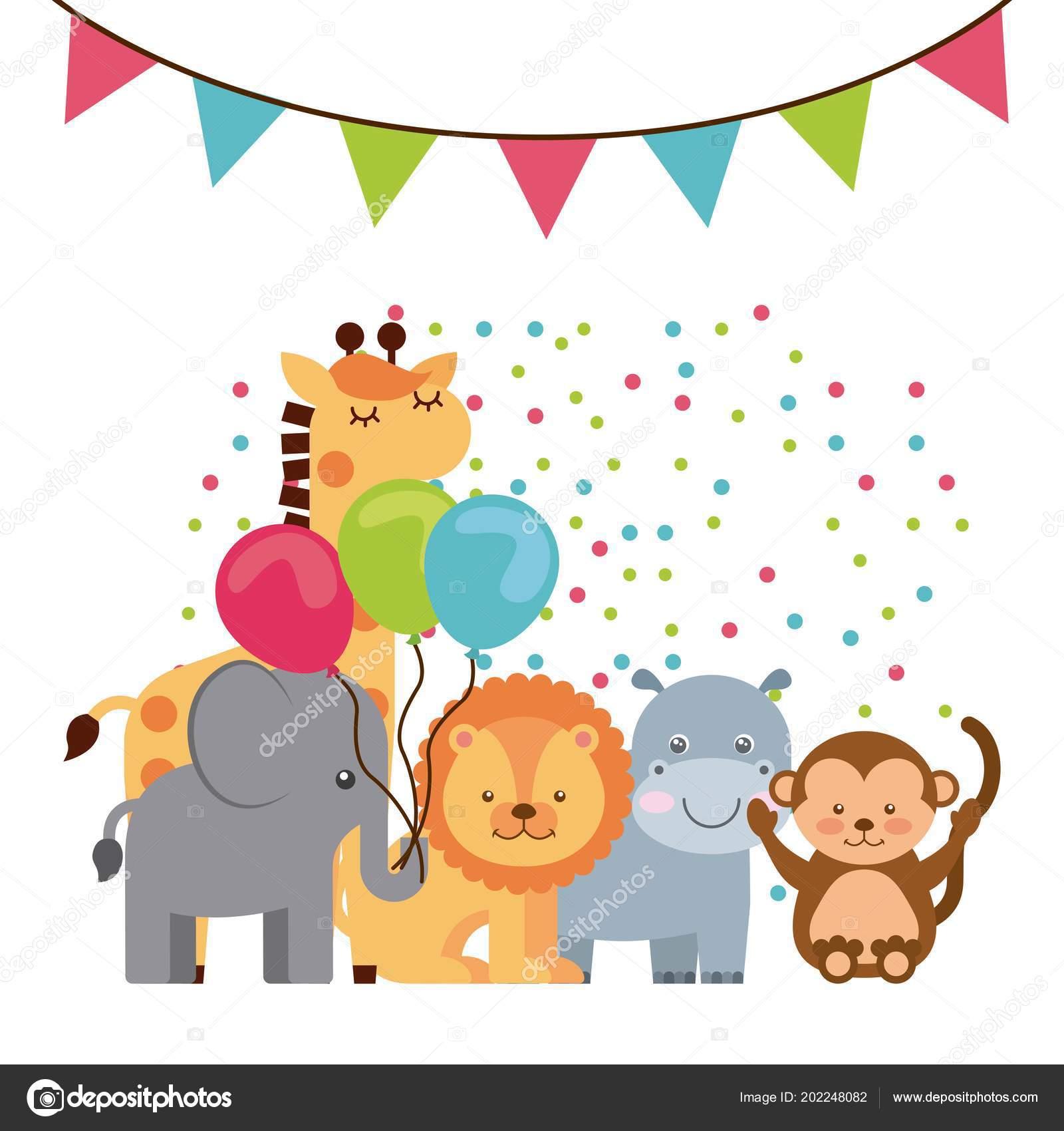 動物のかわいい誕生日パーティーお祝い — ストックベクター © yupiramos