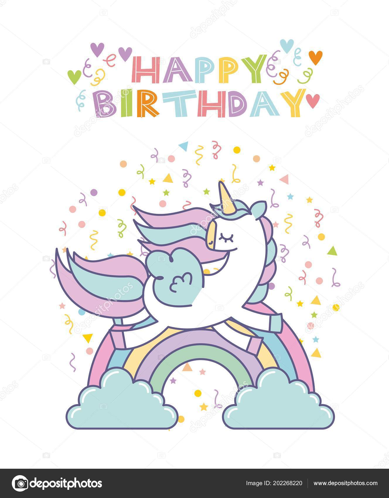 Happy Birthday Card With Cute Unicorn Icon Over White Background Colorful Design Vector Illustration By