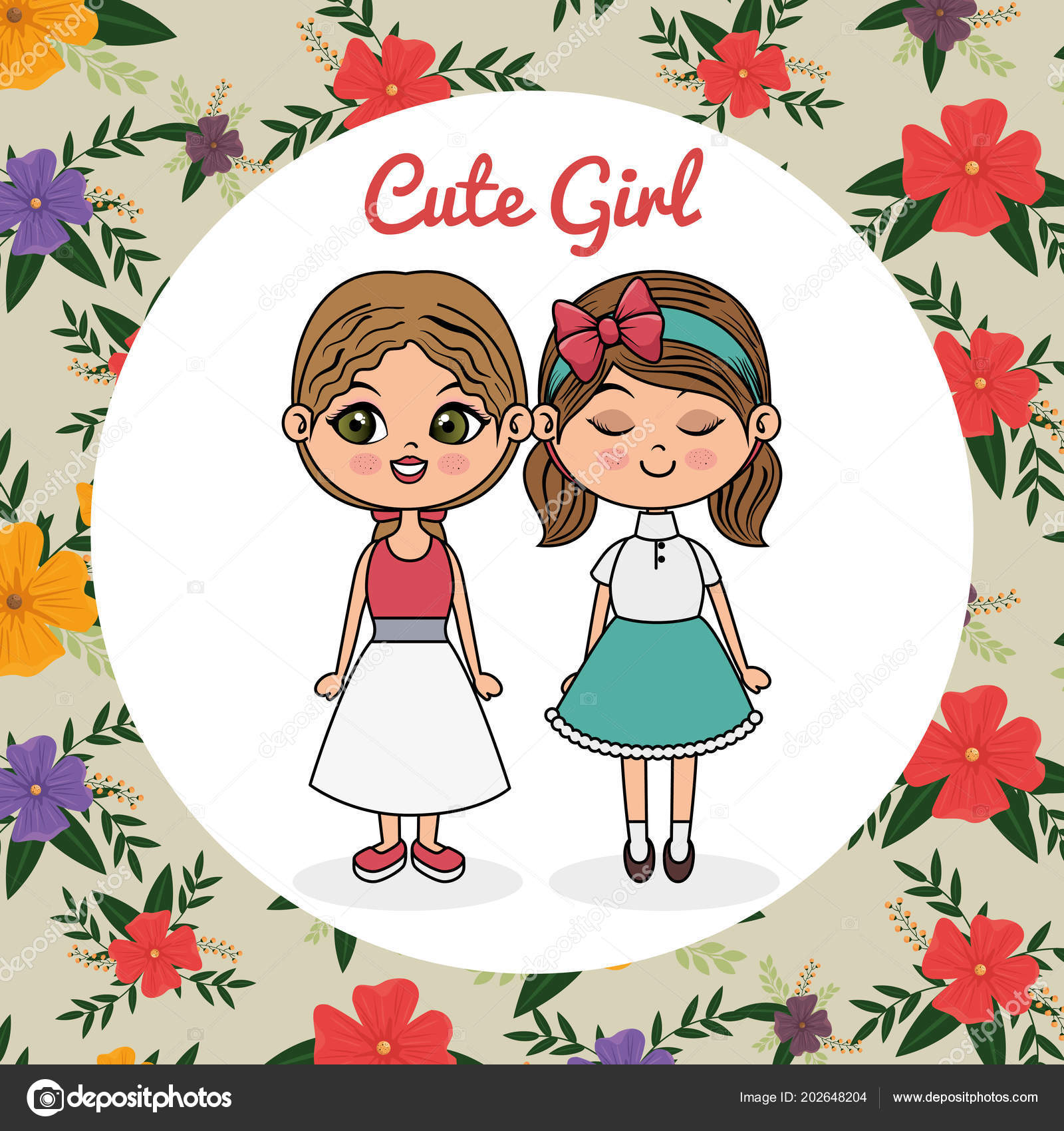 cute girls couple characters with floral frame — Stock Vector ...