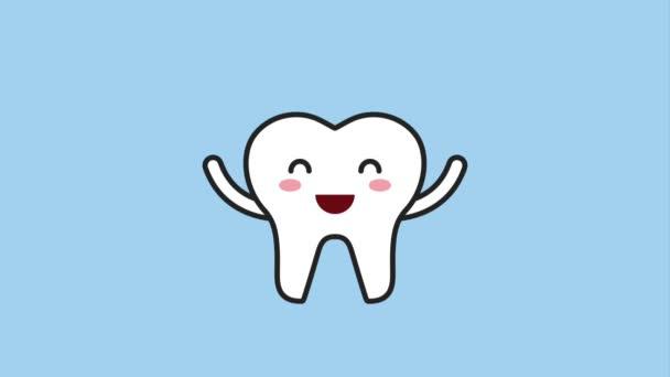 happy tooth waving hands cartoon character hygiene dental