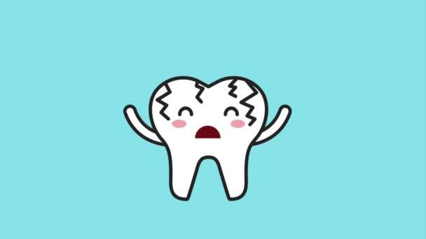 sick broken cartoon tooth with brush hygiene dental