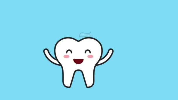 happy tooth with brush and toothpaste hygiene dental
