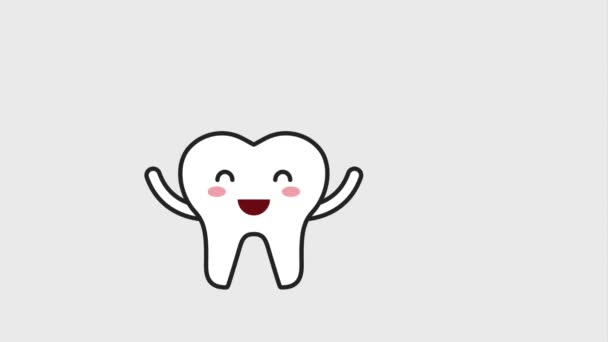 happy tooth character with dental floss hygiene dental
