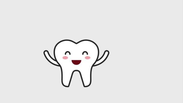 glücklich Zahn Charakter mit Zahnseide Hygiene dental