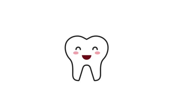 happy tooth character with hygiene tool