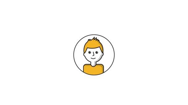 Portrét muže na kruh znaky týmové práce