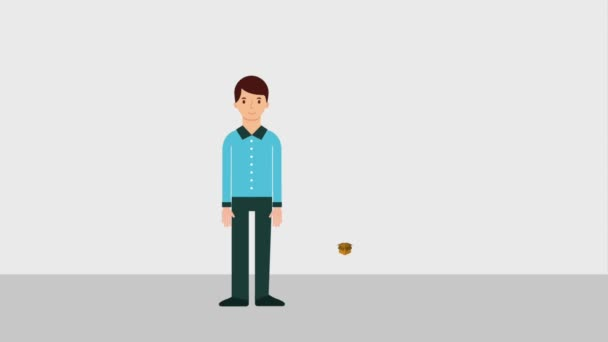 muž stojící postava s balíček mince peníze