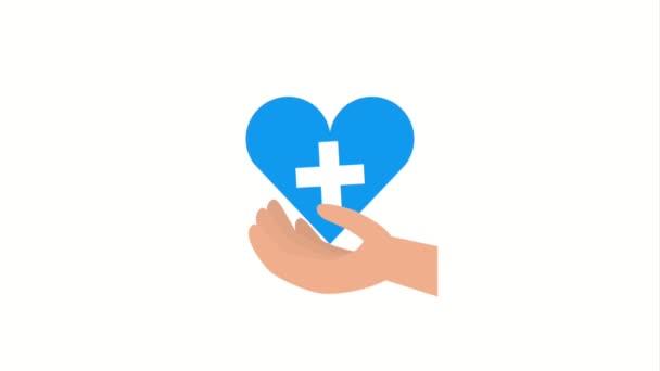 ruka s modrým srdcem kříž lékařské