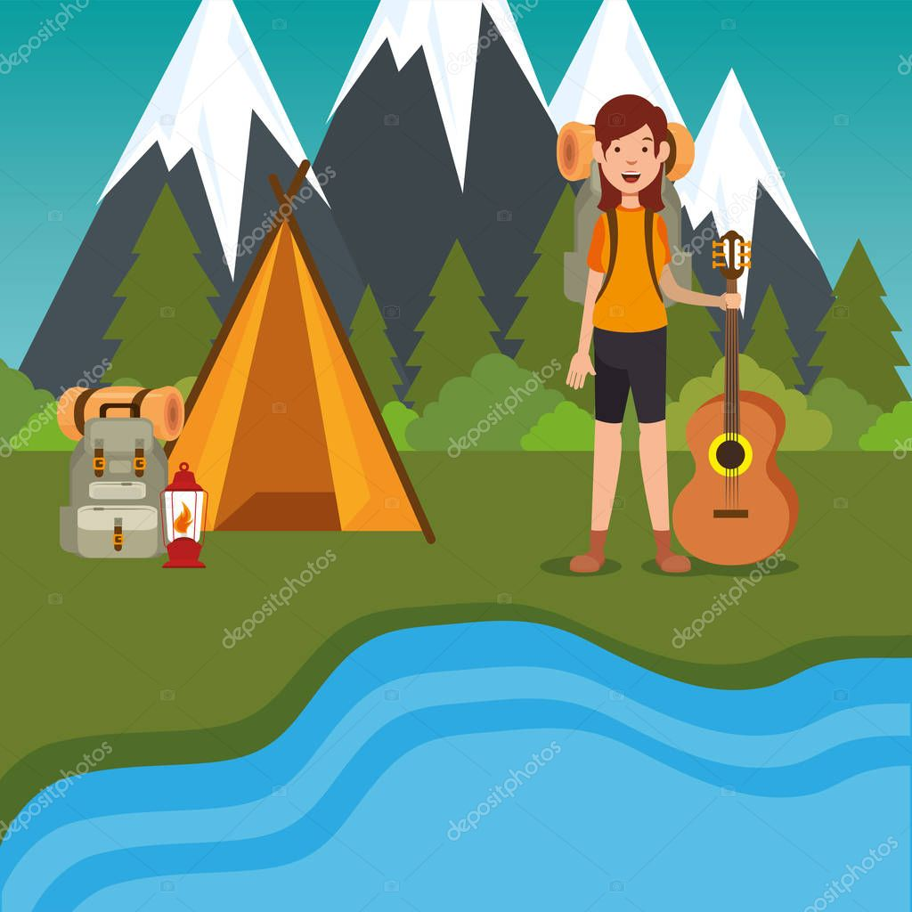 young woman scout in the camping zone scene
