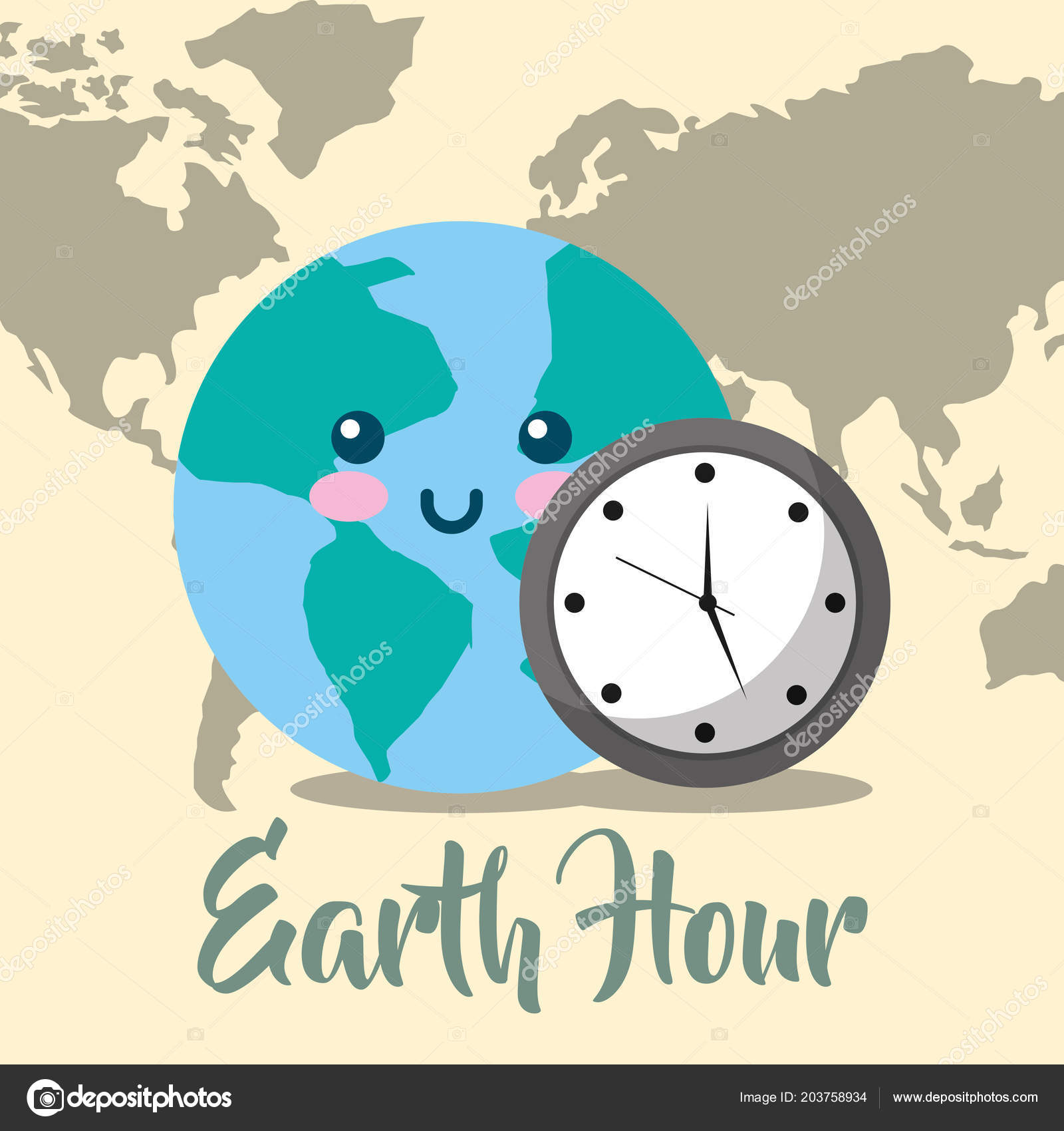 Kawaii Planet World Map Clock Earth Hour Vector Illustration — Stock on life world map, indie world map, design world map, cross world map, retro world map, anime world map, gothic world map, cats world map, candy world map, winter world map, nature world map, drawing world map, green world map, craft world map, love world map, illustration world map, jewelry world map, rainbow world map, coffee world map,