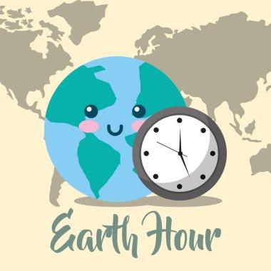 kawaii planet world map clock earth hour vector illustration