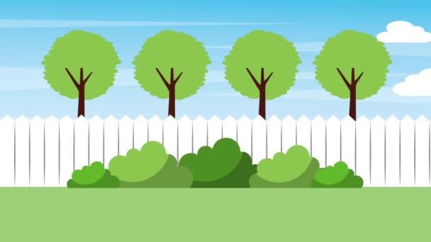 Krajina dvorku plot stromy keře příroda