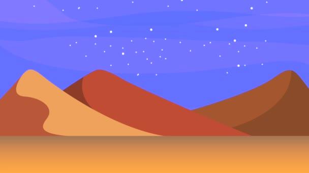 Krajina pouště písečných dun měsíční svit hvězdy světlé