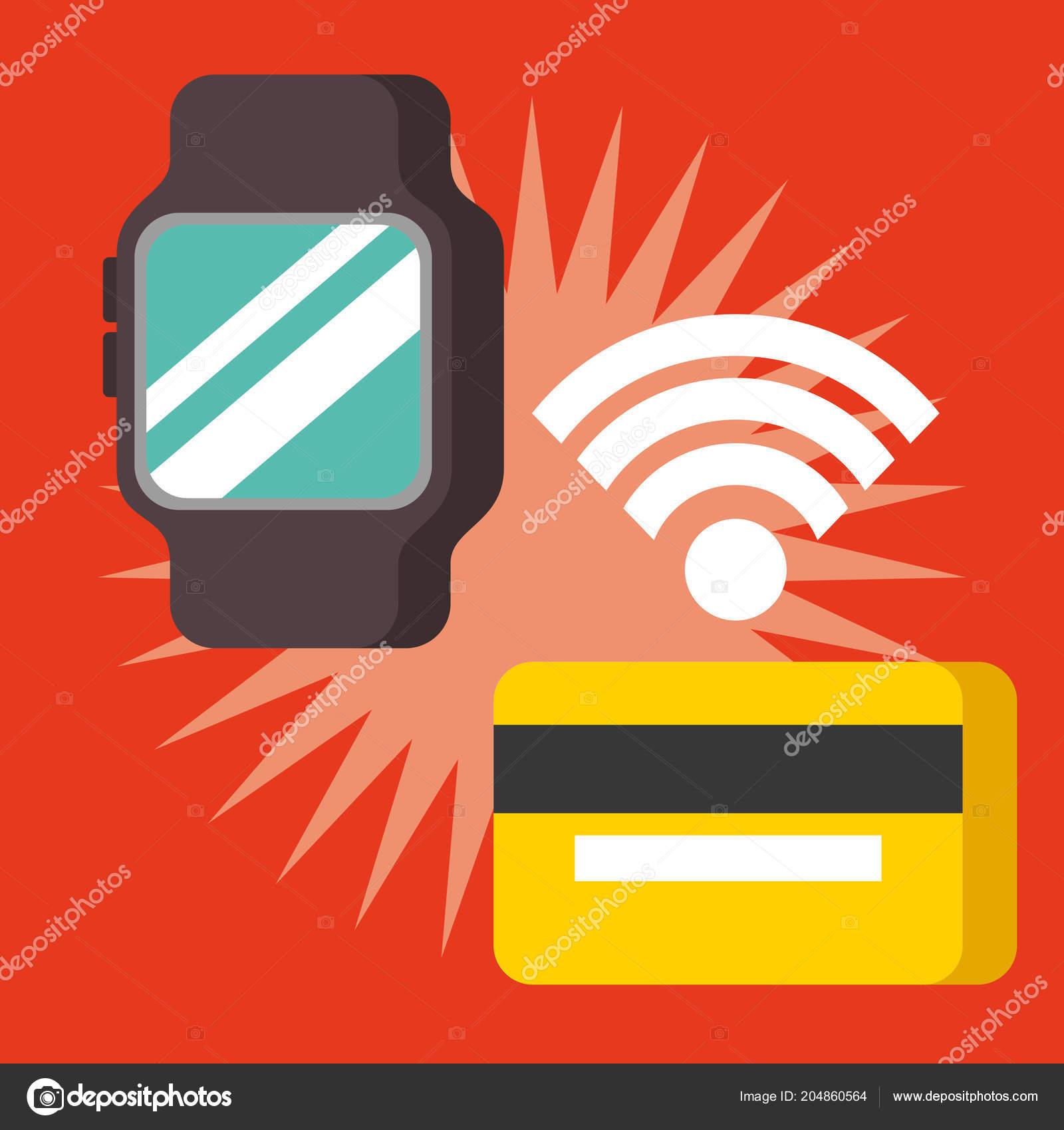 00fb4b927f71 Ilustración vectorial de la señal de NFC pago tecnología reloj tarjeta de  crédito — Vector de ...