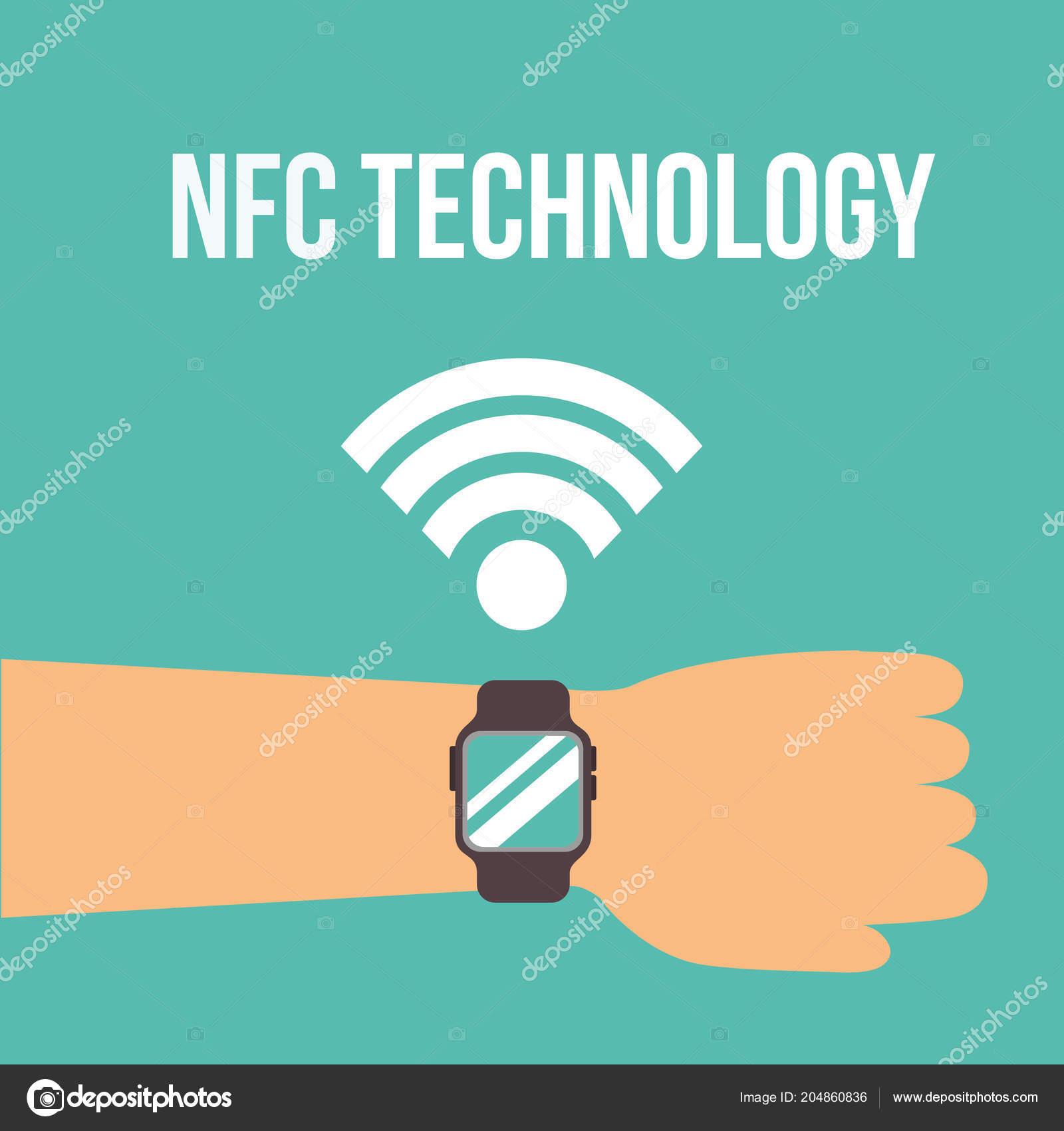 7a1f9fcca743 Mano de señal de tecnología NFC pagos usando la ilustración de vector de  reloj de pulsera — Vector de ...