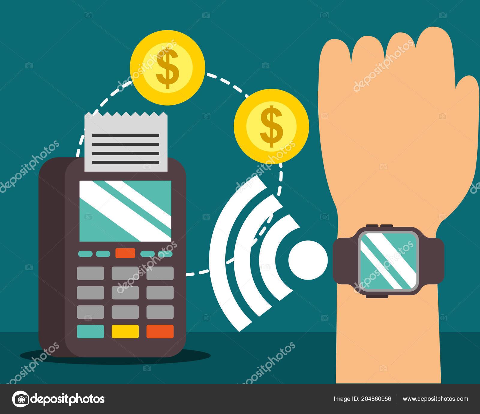 302ad066100a Mano de la tecnología de pago NFC con la señal de reloj de pulsera monedas  datáfono vector ilustración — Vector de ...