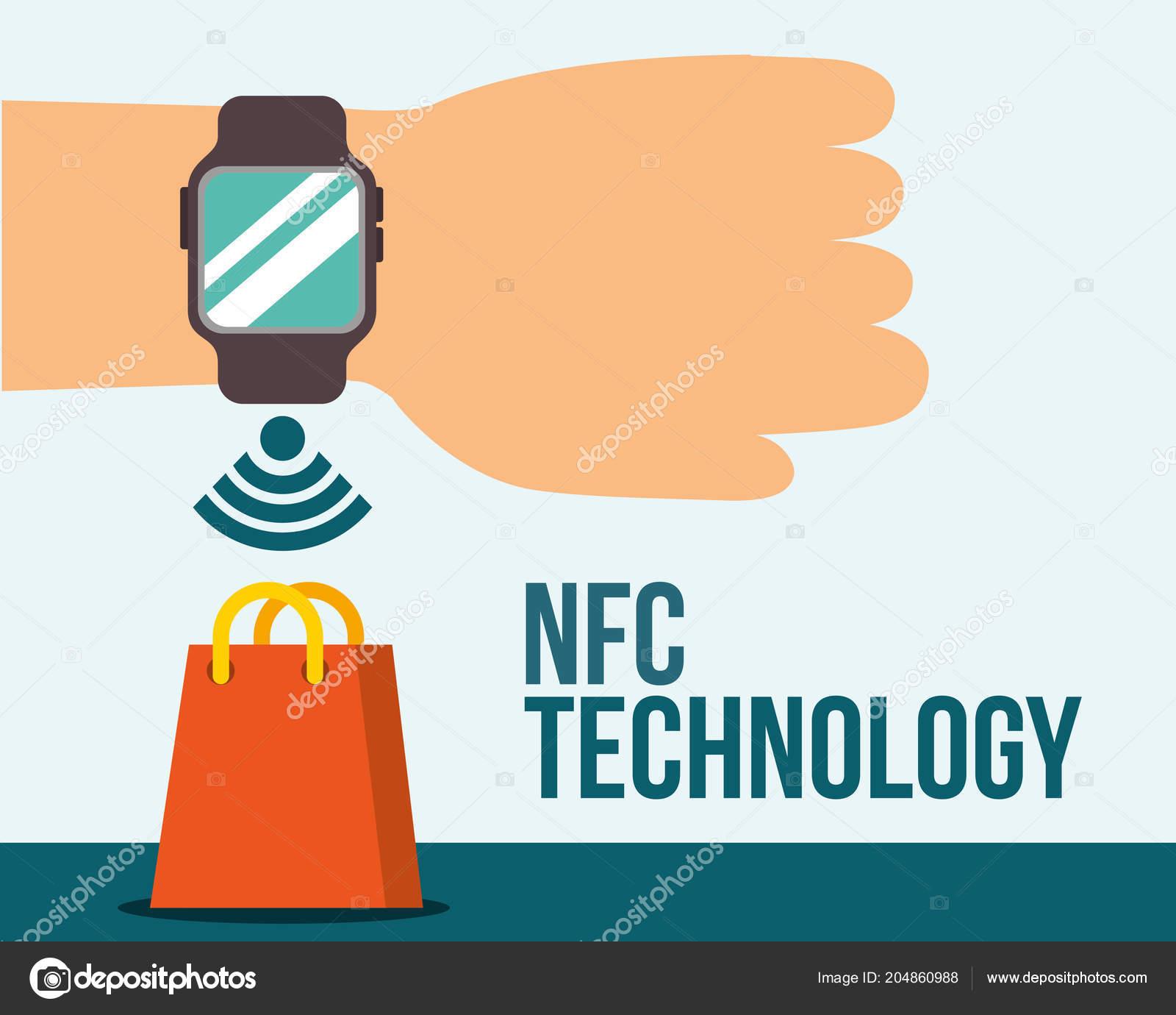 f27780dc0f4f Mano de la tecnología de pago NFC con reloj de pulsera bolso signo vector  ilustración — Vector de ...