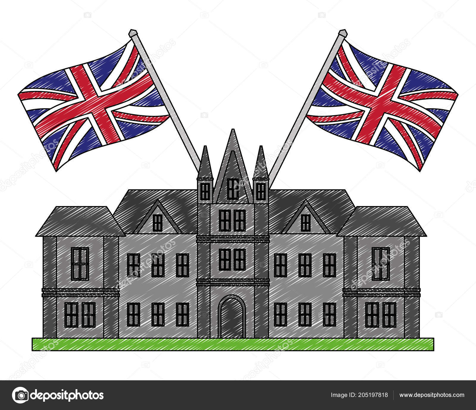 British Castle With Flags Of Great Britain Stock Vector