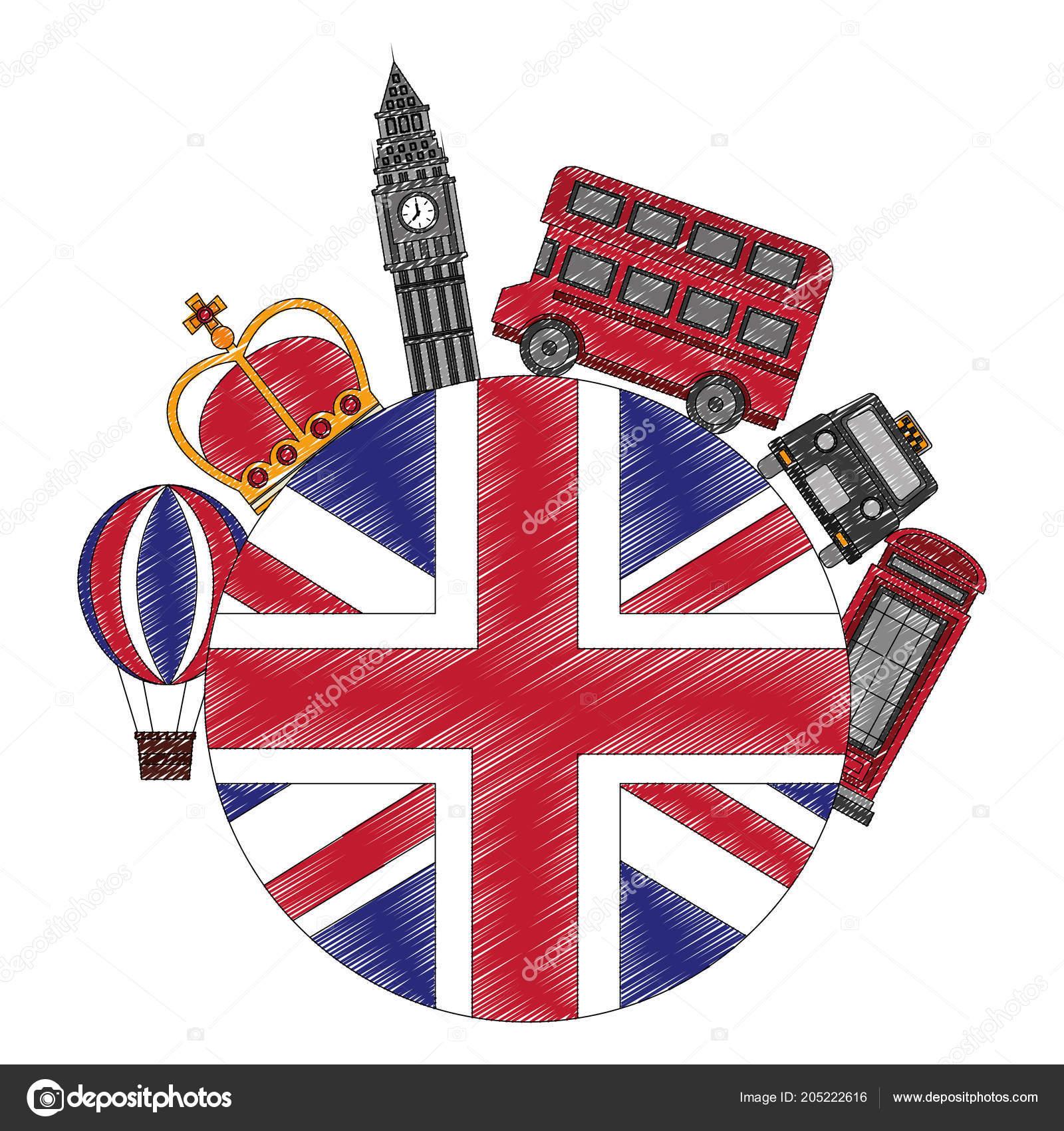 Reino Unido Bandera Big Ben Bus Taxi Corona Y Cabina De Teléfono