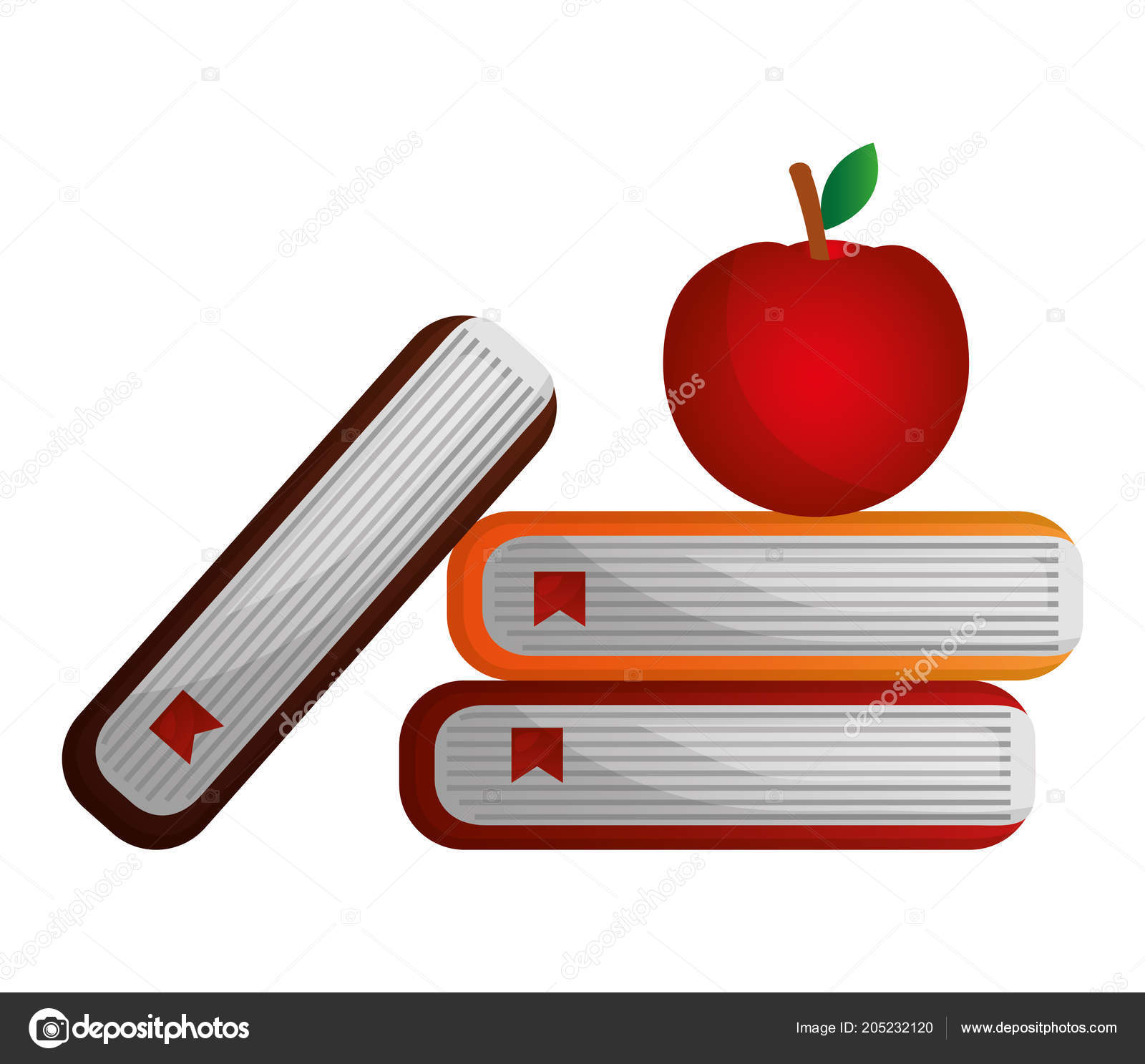 Livros De Escola E Smbolo Da Apple Vetores De Stock Yupiramos