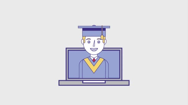 graduate man on laptop education certificate animation hd