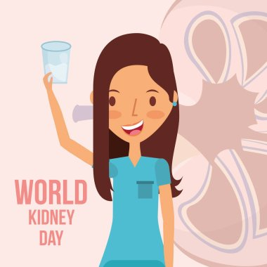 cute woman with glass water world kidney day