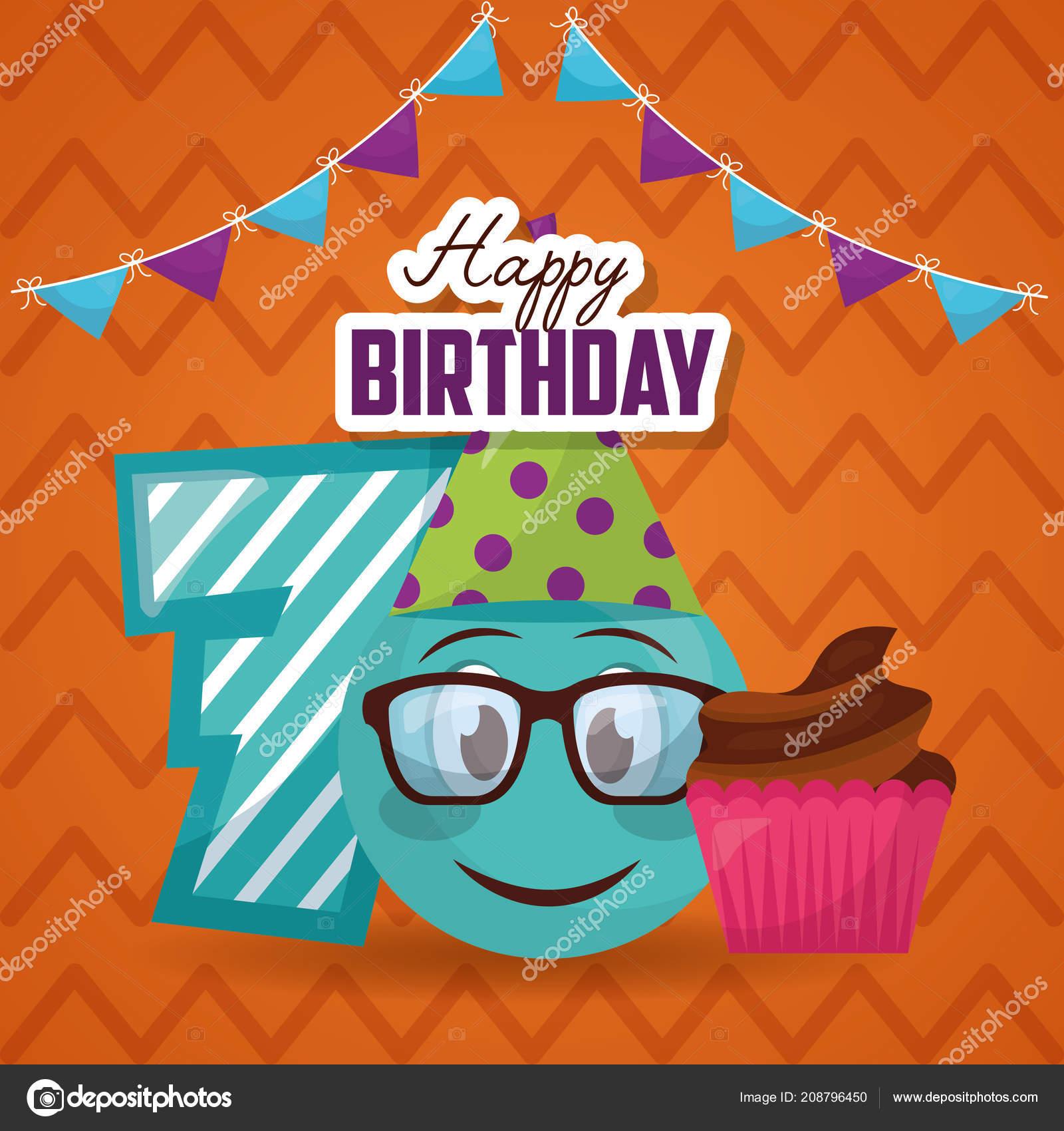 Alles Gute Zum Geburtstag Nummer Emoji Mit Brille Kuchen Wimpel