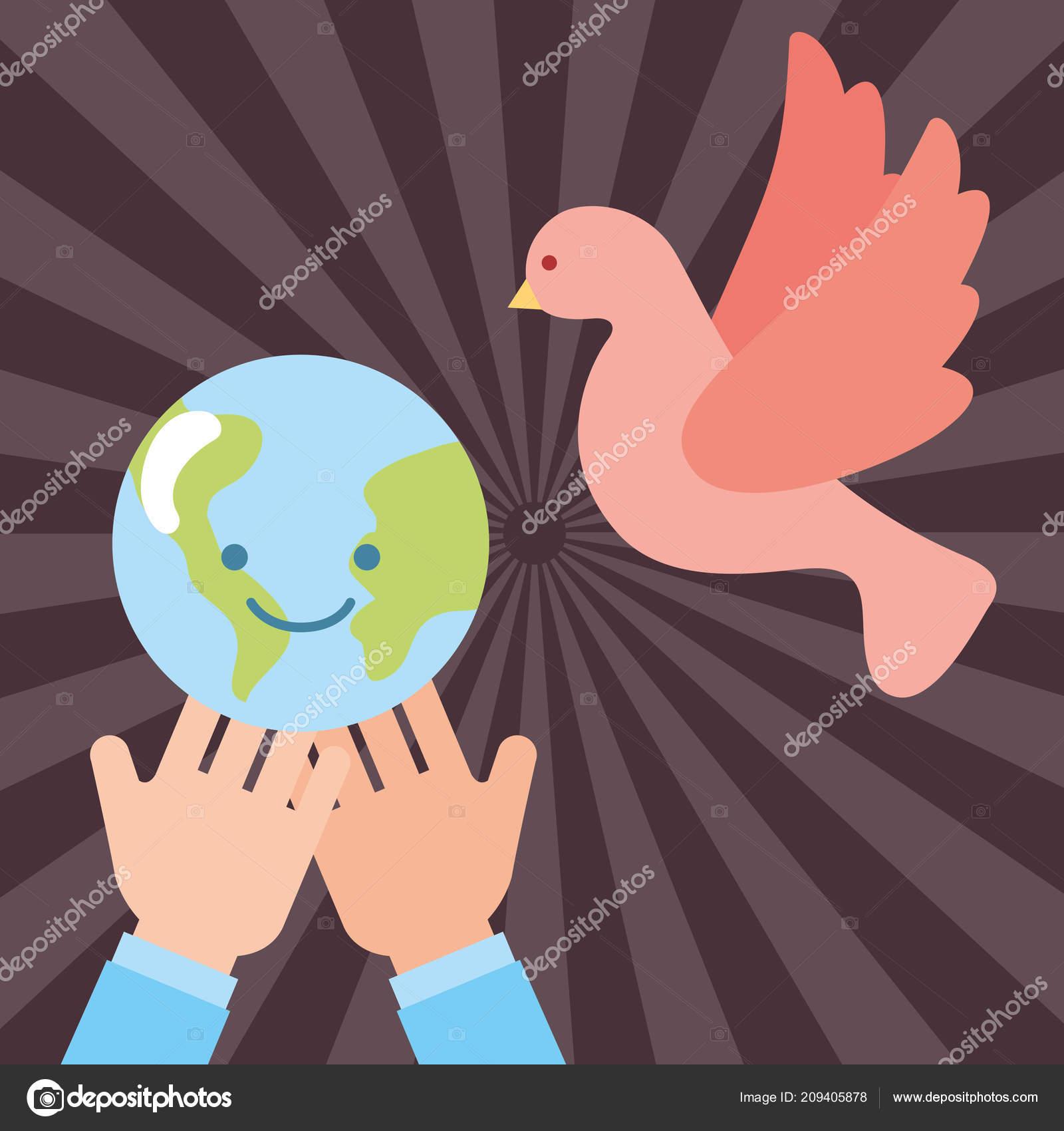 Manos Con Paloma De La Paz Del Mundo De Kawaii Volando