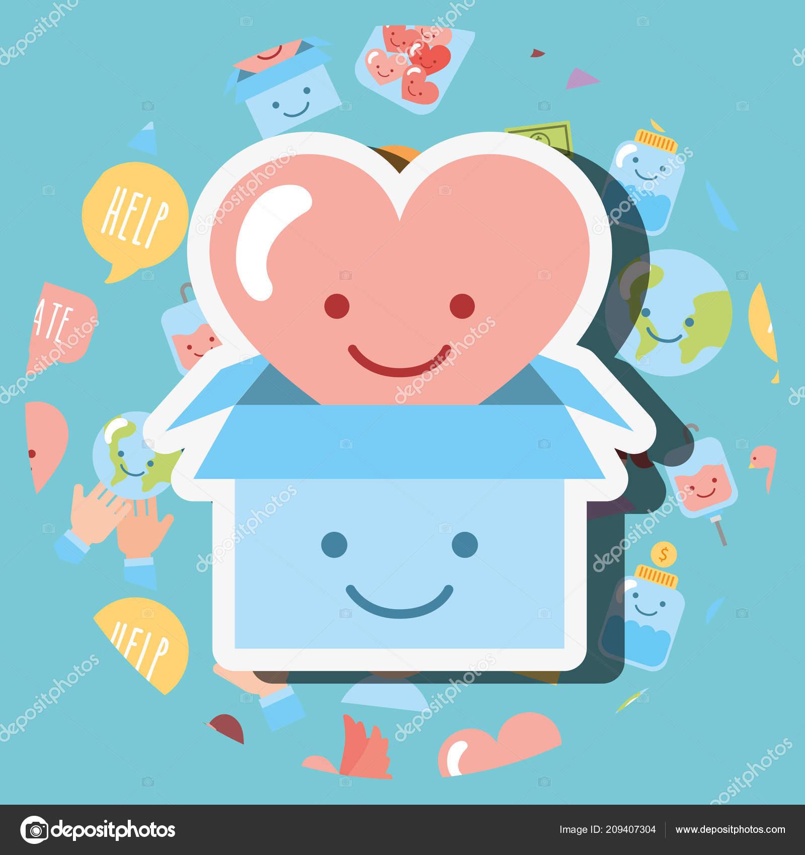 Carton Et Coeur Amour Dessin Animé Kawaii Charité Image