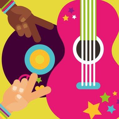 musical guitar vinyl disc hands peace love hippie free spirit