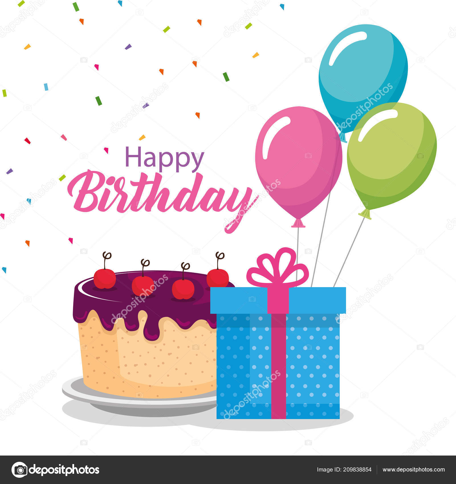Happy Birthday Card With Cake And Balloons Helium Image