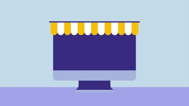 Smartphone online nakupování papírové tašky ikona Vektor ilustrační