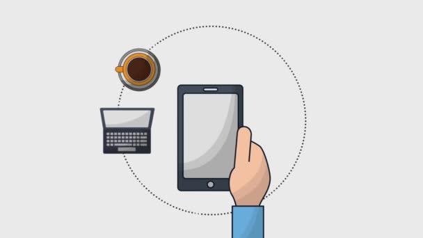 ruce drží smartphone podnikání laptop káva Aktovka složku