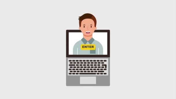 man on screen laptop enter video blogger animation hd