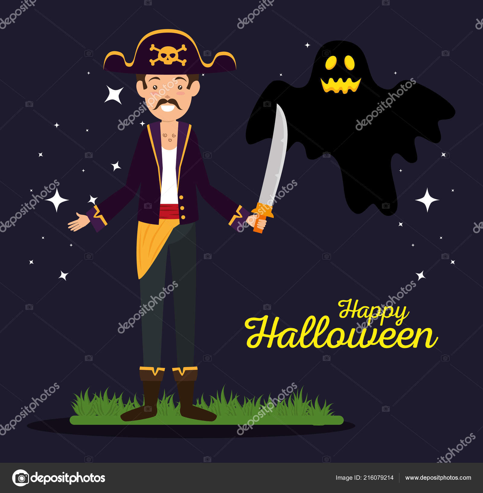 Halloween Card With Pirate And Ghost Stock Vector Yupiramos