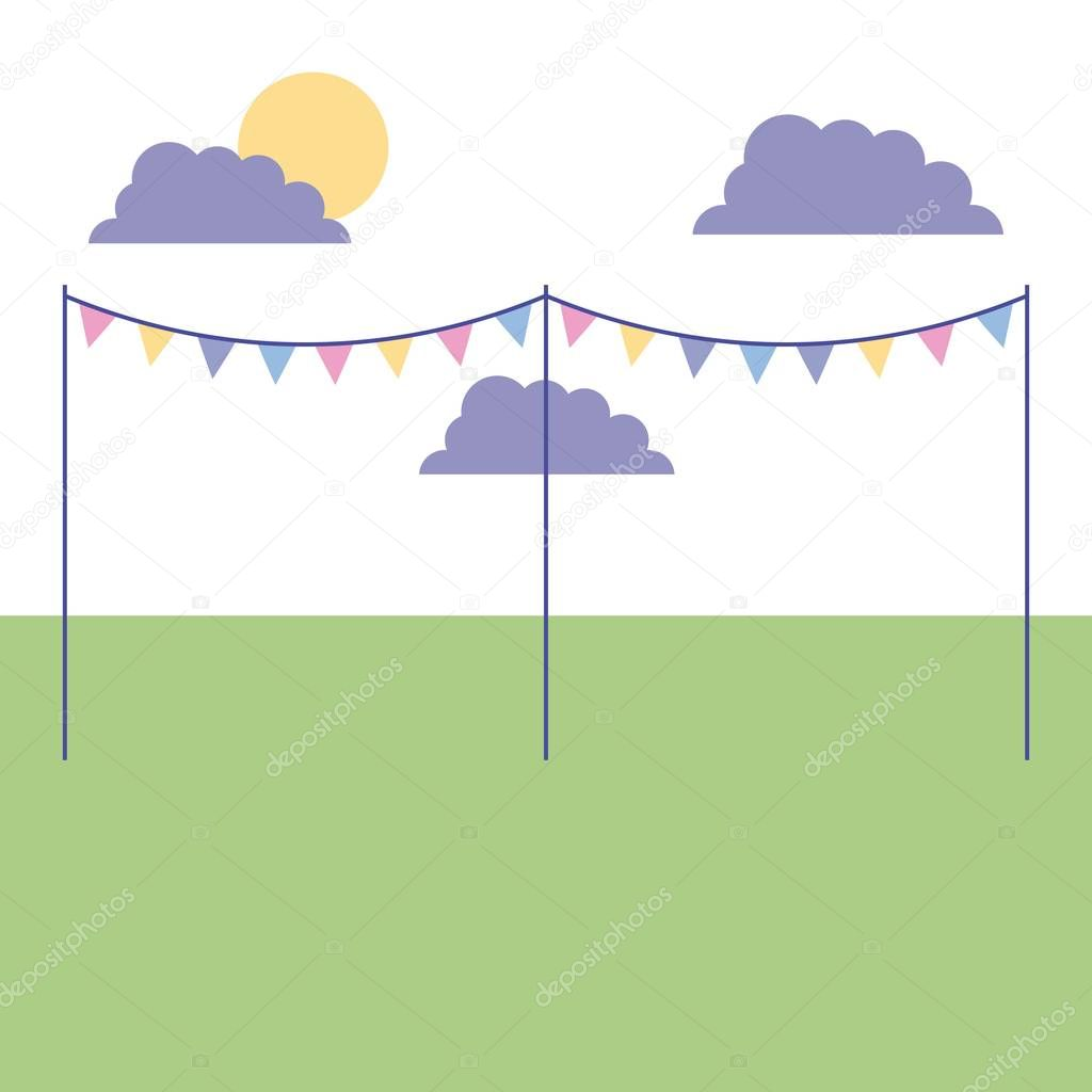 outdoor sunday park with pennants clouds vector illustration