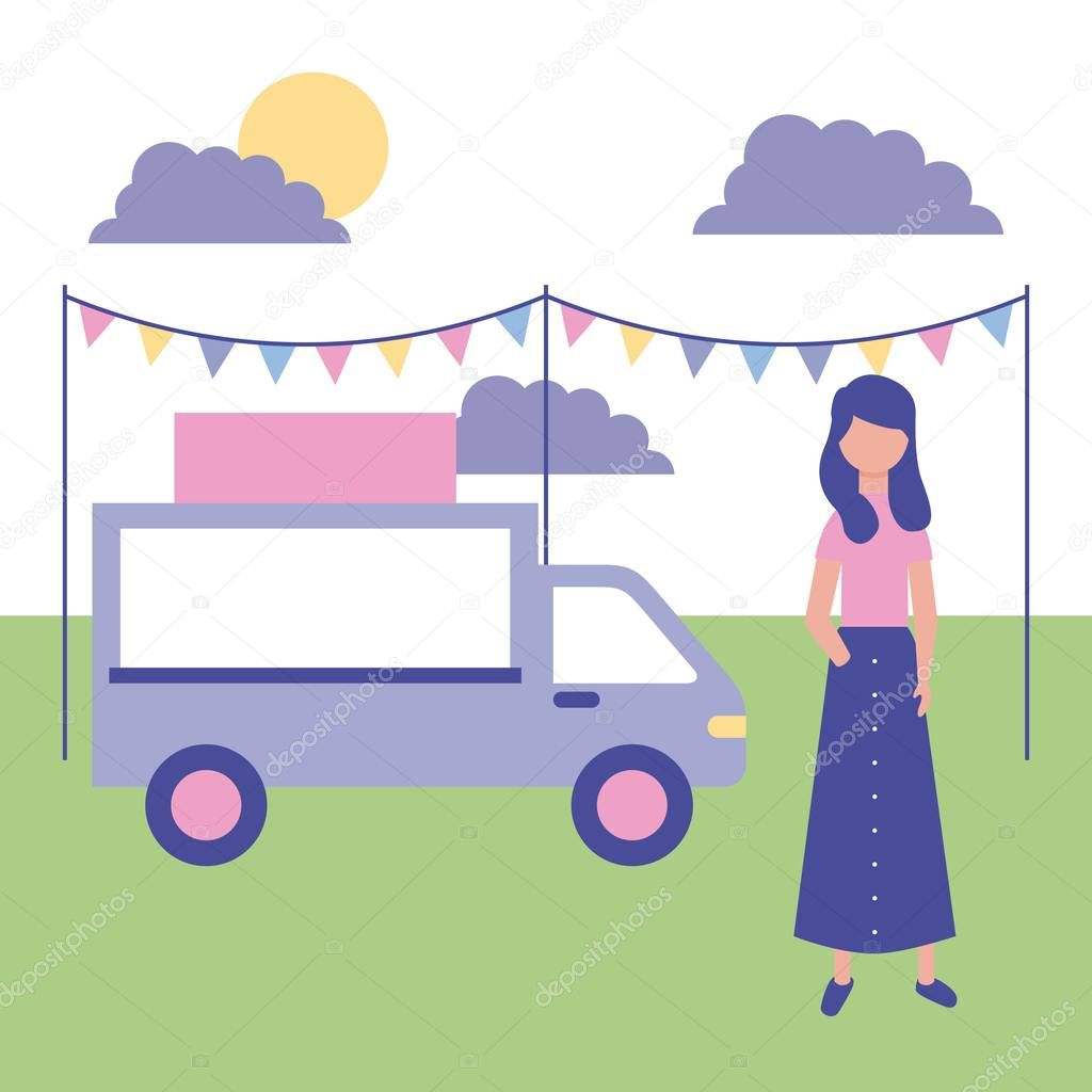 outdoor girl in the park food car pennants vector illustration