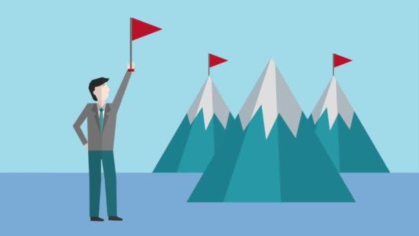 podnikatel, mává vlajkou hory úspěch animace hd