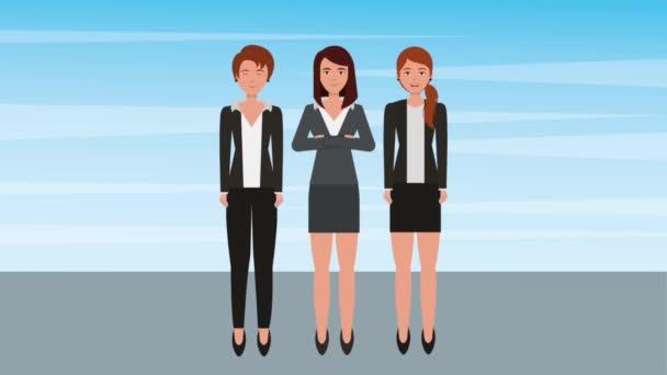 teamwork businesswomen group profession characters