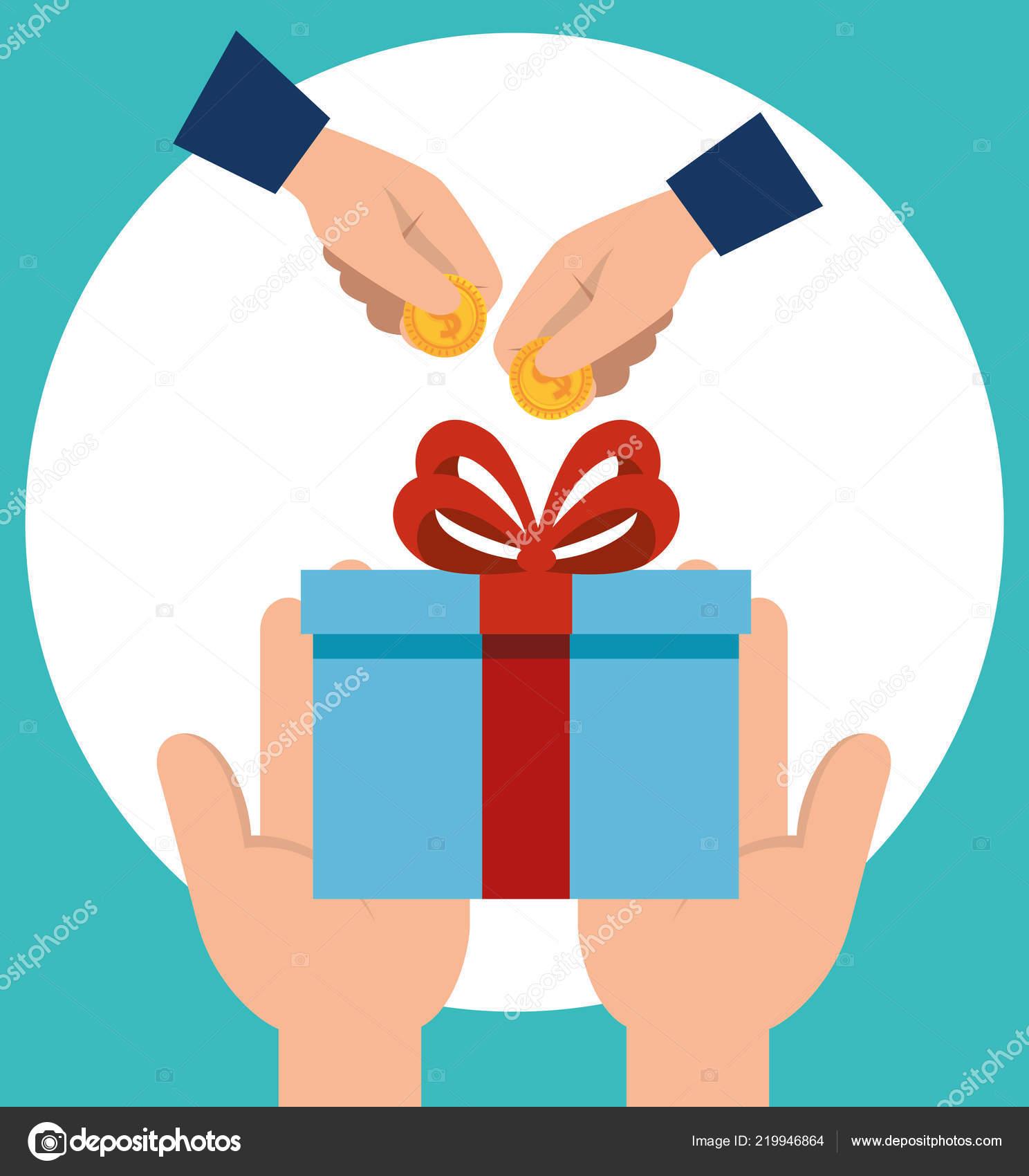 Hände Mit Geschenk Und Münzen Stockvektor Yupiramos 219946864