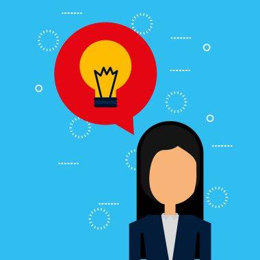 businesswoman with speech bubble avatar character vector illustration design