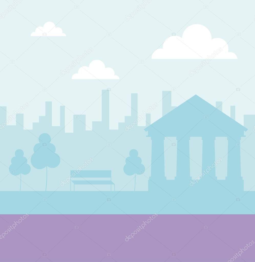 city park street clouds color school vector illustration
