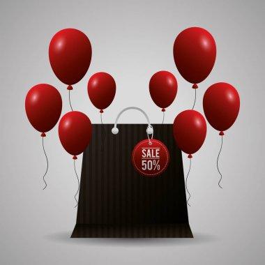 black friday shopping sales red balloons bag sticker vector illustration
