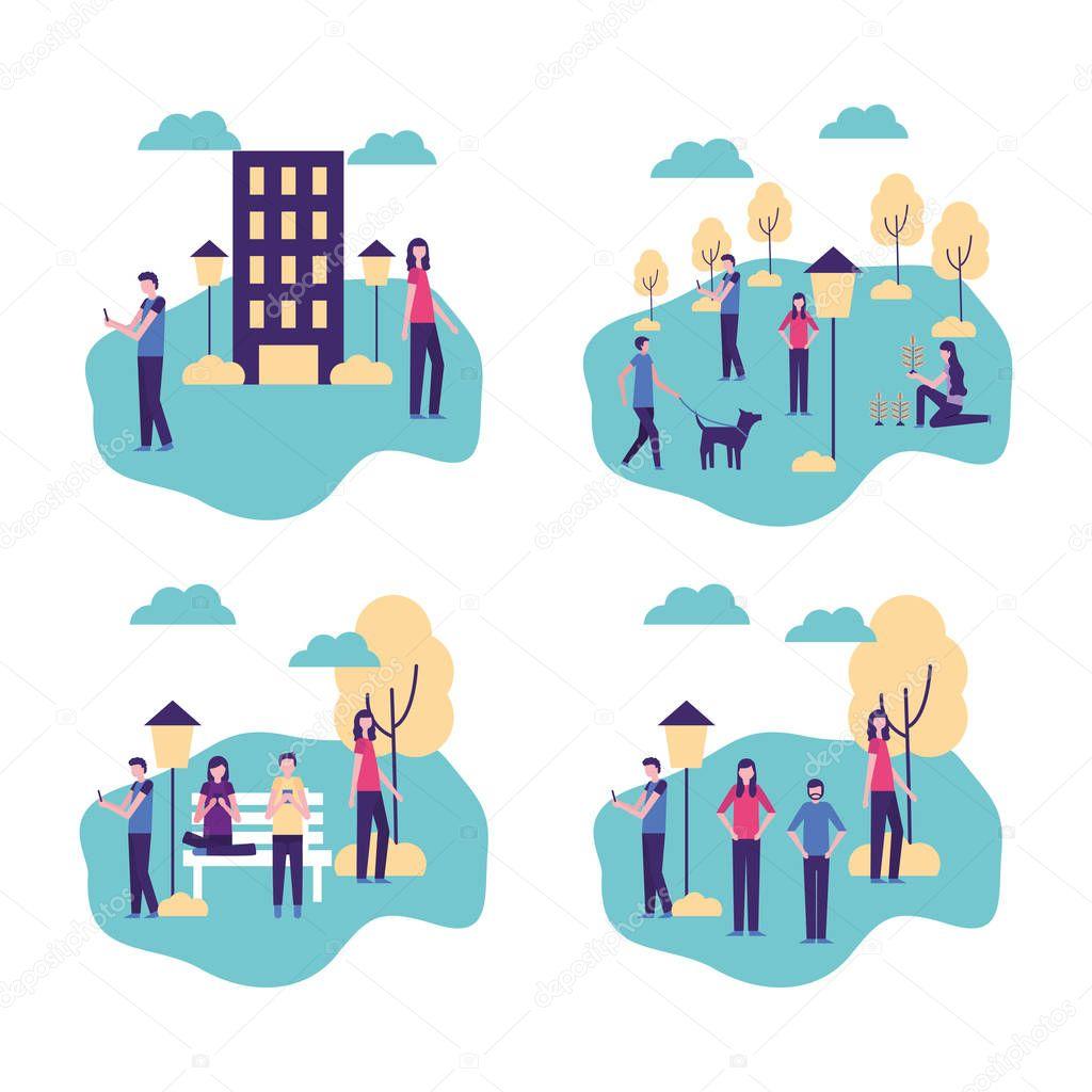 community activity outdoors parks people enjoy fresh interacting vector illustration