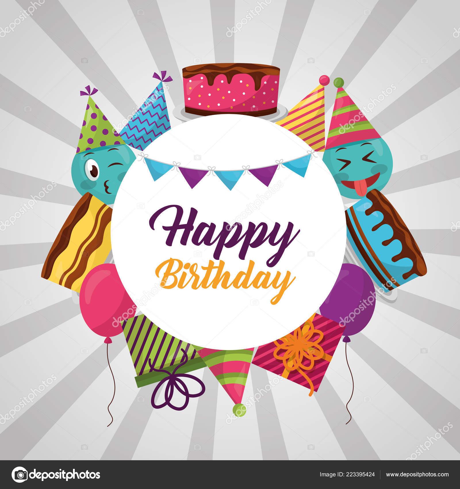 Happy Birthday Badge Emoji Hat Party Celebration Stock Vector